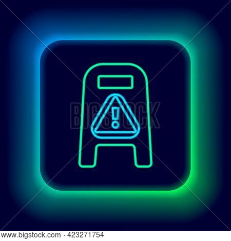 Glowing Neon Line Wet Floor And Cleaning In Progress Icon Isolated On Black Background. Cleaning Ser