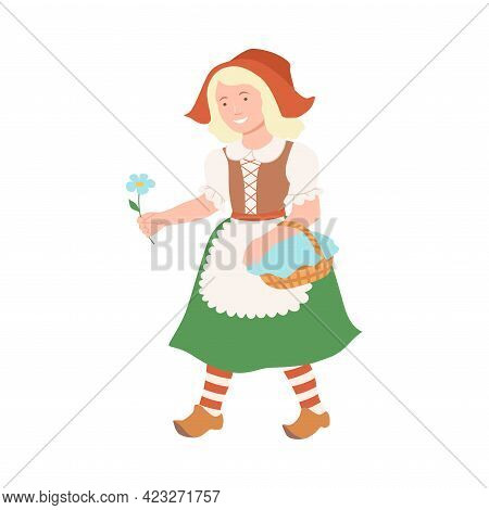 Red Riding Hood With Wicker Basket As Fabulous Medieval Character From Fairytale Vector Illustration