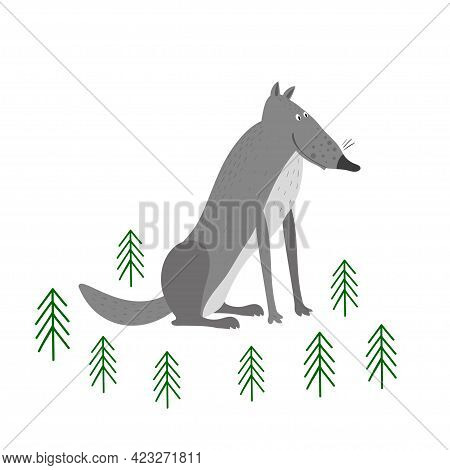 Vector Scene With Grey Wolf In The Forest. Wolf Isolated On A White Background. Illustration In Hand