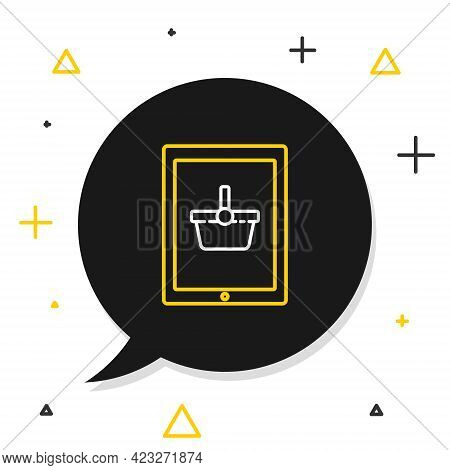 Line Shopping Basket On Screen Tablet Icon Isolated On White Background. Concept E-commerce, E-busin