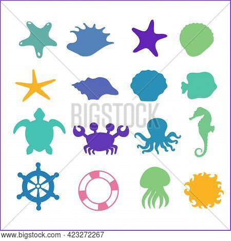 Set Of Sea Icons On White Background. Ocean Animals, Seashell Wheel Isolated.