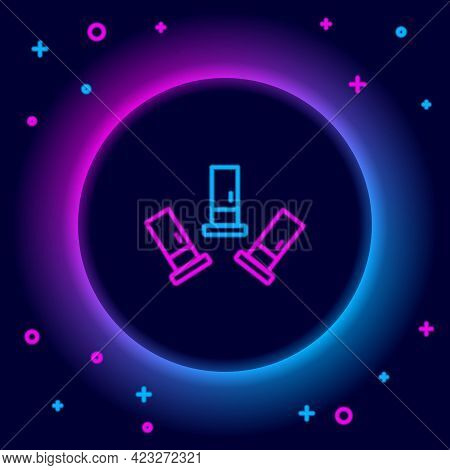 Glowing Neon Line Cartridges Icon Isolated On Black Background. Shotgun Hunting Firearms Cartridge.