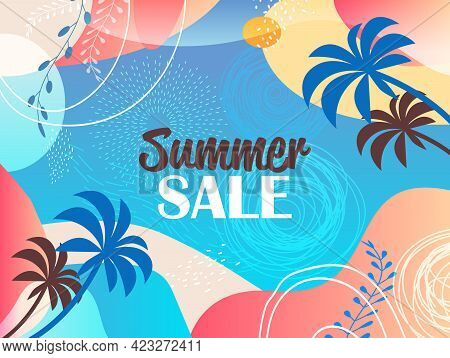 Seasonal Summer Sale Banner Flyer Or Greeting Card With Decorative Leaves And Hand Drawn Textures
