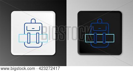 Line Hiking Backpack Icon Isolated On Grey Background. Camping And Mountain Exploring Backpack. Colo