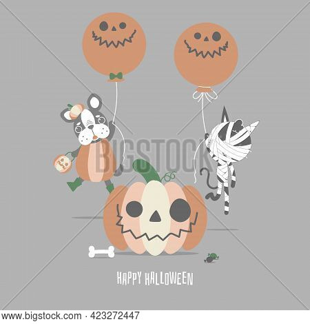 Happy Halloween Holiday Festival With Cute French Bulldog Pug, Mummy Cat And Pumpkin, Flat Vector Il