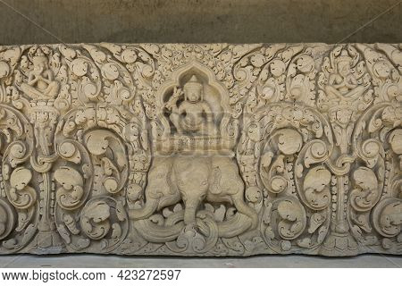 Detail Of Carvings Stone Bas-relief Lintel Of Khmer Culture In Thailand.