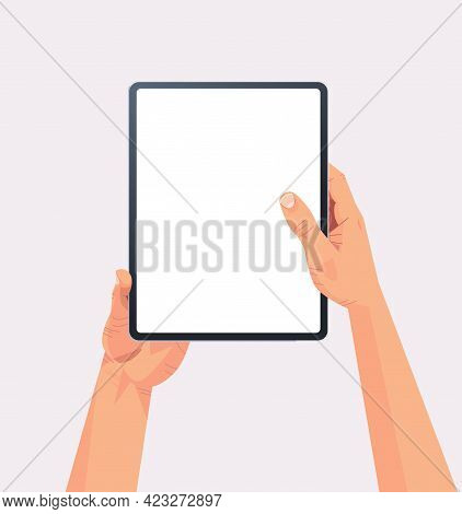Human Hands Holding Tablet Pc With Blank Touch Screen Using Digital Device Concept Isolated Vertical