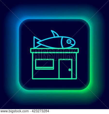 Glowing Neon Line Seafood Store Icon Isolated On Black Background. Facade Of Seafood Market. Colorfu