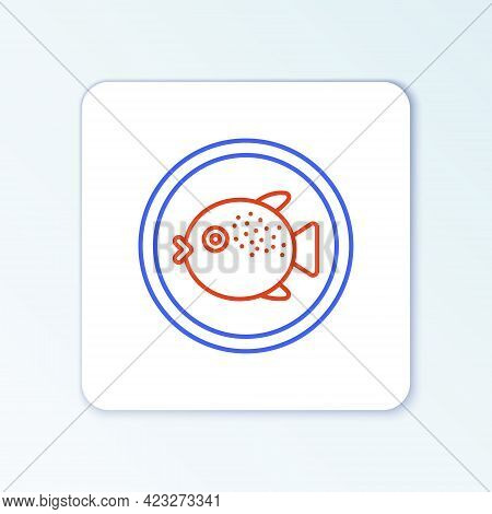 Line Puffer Fish On A Plate Icon Isolated On White Background. Fugu Fish Japanese Puffer Fish. Color
