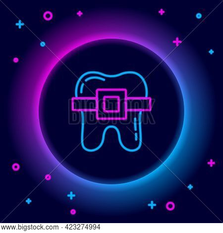 Glowing Neon Line Teeth With Braces Icon Isolated On Black Background. Alignment Of Bite Of Teeth, D