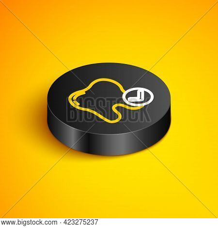 Isometric Line Tooth Whitening Concept Icon Isolated On Yellow Background. Tooth Symbol For Dentistr