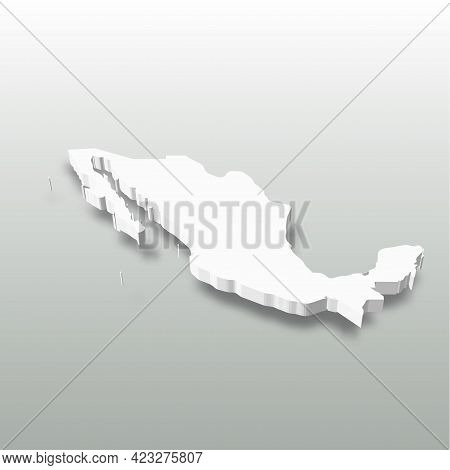 Xxx- White 3d Silhouette Map Of Country Area With Dropped Shadow On Grey Background. Simple Flat Vec