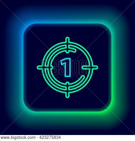 Glowing Neon Line Old Film Movie Countdown Frame Icon Isolated On Black Background. Vintage Retro Ci