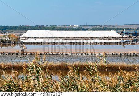 Black Sea Salt Pans. Salt Extraction From Atanasovsko Lake Near Burgas, Bulgaria.