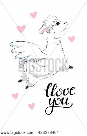 Cute White Fluffy Llama Flying With Pegasus Wings Surrounded By Pink Hearts And Phrase Love You. Han