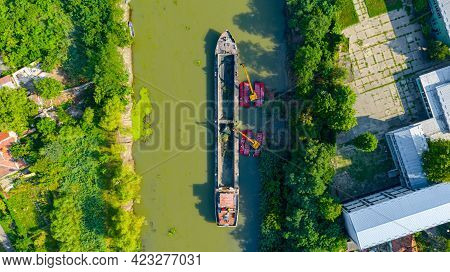 Above Top View On Two Excavators Dredge As They Dredging, Working On River, Canal, Deepening And Rem