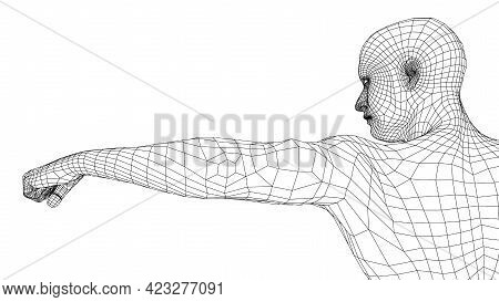 Fist Of Young Fighter. Vector Rendering Of 3d. Wire-frame Style. The Athlete Stretches Out His Hand,
