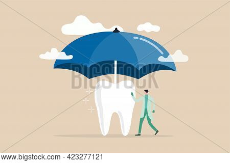 Dental Insurance Covering Healthcare And Medical Cost, Tooth Protection Or Dental Care Concept, Dent