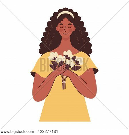 Beautiful African Black Woman Holding A Bouquet Of Flowers In Her Hands. Mothers Day, Womens Day. Fl