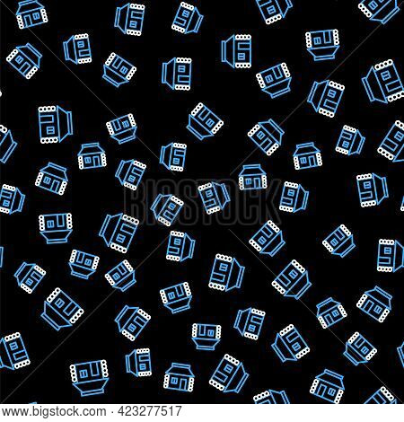 Line Old Ukrainian House Hut Icon Isolated Seamless Pattern On Black Background. Traditional Village