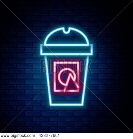 Glowing Neon Line Coffee Cup To Go Icon Isolated On Brick Wall Background. Take Away Print. Colorful