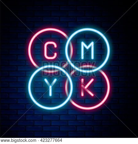 Glowing Neon Line Cmyk Color Mixing Icon Isolated On Brick Wall Background. Colorful Outline Concept