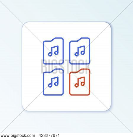 Line Music File Document Icon Isolated On White Background. Waveform Audio File Format For Digital A