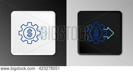 Line Gear With Dollar Symbol Icon Isolated On Grey Background. Business And Finance Conceptual Icon.