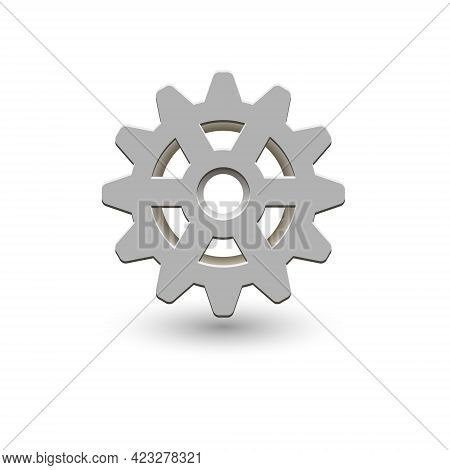 Cogwheel With Shadow. Vector Icon. Mechanical Transmission. Image Of A Gear.