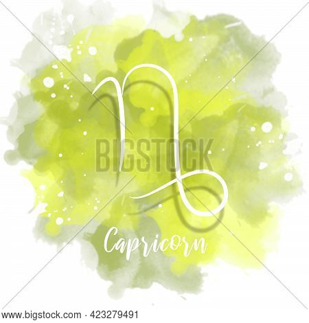 Illustration Of Zodiac Sign Capricorn With Watercolor Background