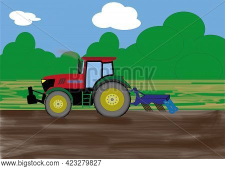 Illustration Of A Farmland, Freshly Touched Brown Soil. A Red Agricultural Tractor Is Driving Across