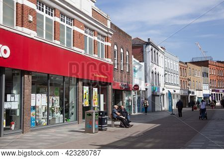 Views Of Shops On The High Street In Maidenhead, Berkshire In The Uk, Taken 30th March 2021