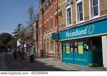 Shops In Maidenhead Including Poundland In Berkshire In The United Kingdom, Taken 30th March 2021