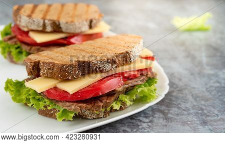 Toast Bread Burger With Cheddar Cheese, Vegetables And Meat On A Plate