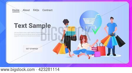 Mix Race People With Colorful Purchases Shopping Concept Copy Space Horizontal