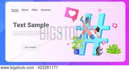 Woman Sharing Information On Big Hashtag Media Marketing Advertising Blogging Promotion Social Netwo