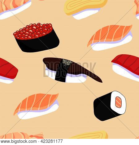Colorful Vector Seeamless Pattern With Japanese Sushi With Salmon, Tuna, Egg, Shrimp And Eel, Salmon
