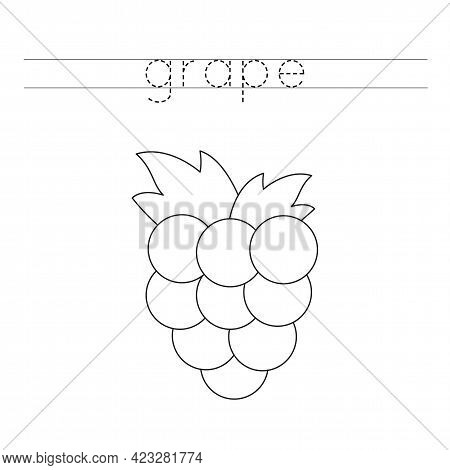 Trace The Word. Black And White Grape. Handwriting Practice For Preschool Kids.
