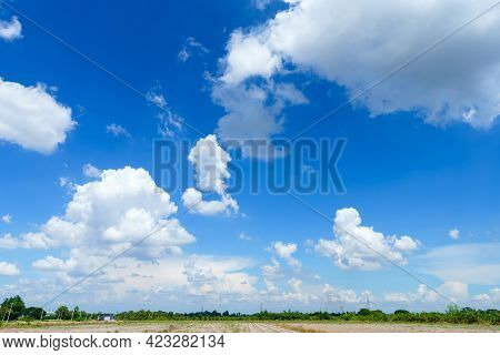 Beautiful Airatmosphere Bright Blue Sky Background Abstract Clear Texture With White Clouds.