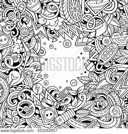 Cartoon Cute Doodles Electric Vehicle Frame Card. Line Art Detailed, With Lots Of Objects Background