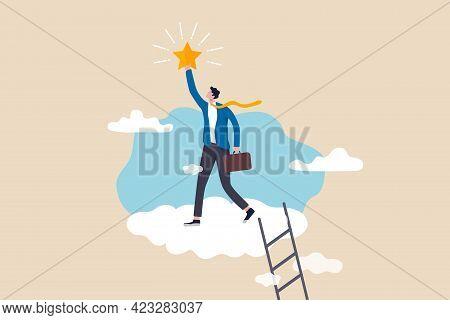 Business Champion Succeed To Get Reward, Winning Star Employee, Career Path Or Dream Job Concept, Su