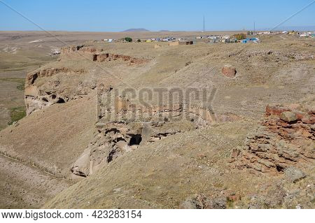 Panoramic View Onto Gorge Surrounding Medieval Ghost Town Ani, Kars, Turkey. There Are Remains Of An