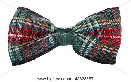 Red green plaid bow tie
