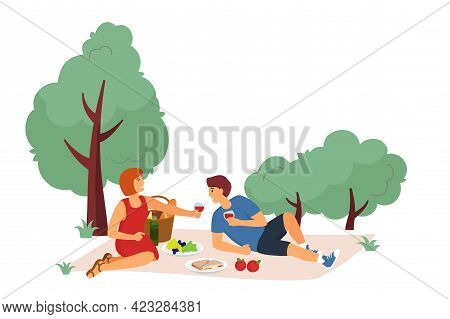 Vector Illustration Of Rest In The City Park. Young Man And Girl Relaxing On A Picnic On The Grass.