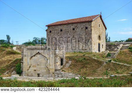 Medieval Monuments Inside Genoese Fortress, Feodosia, Crimea. Armenian Fountain & Church Of St Demet
