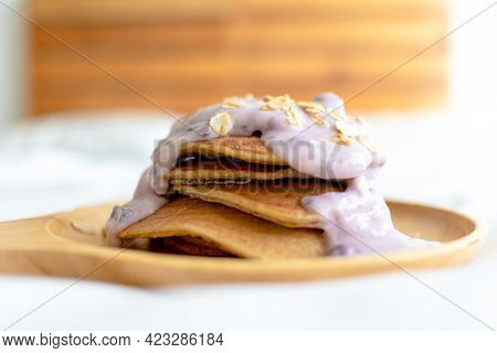 Homemade Diet Pancake With Mixed Fruits Yogurt On White Bed In The Morning.