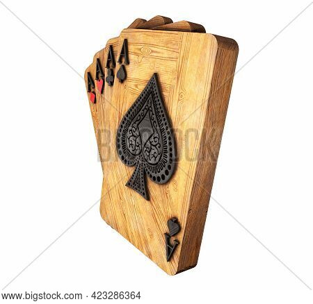 Four Aces In Five Playing Card With Black Gold Design On Background. Chip Gold 3d Model Illustration