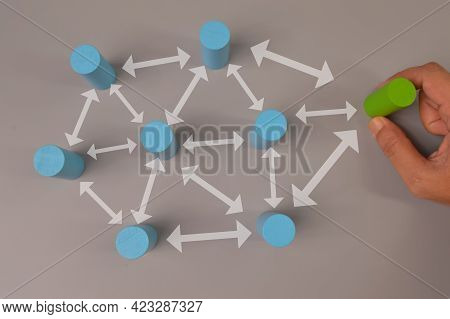 Hand Picked A Green Wooden Block. Organisation Structure, Teamwork And Social Network Concepts.