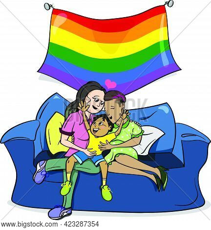 Hand Drawn Vector Illustration Lesbians Couple And Baby. Child Adoption By Lesbian Couple. Gay Coupl