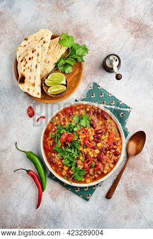 Mexican Black Bean Soup With Minced Meat, Tomato, Cilantro, Avocado And Vegetables Stew On A Light G